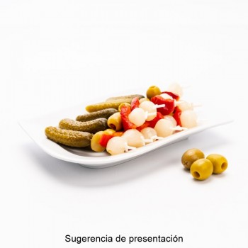 CUBO ACEITUNA ADOBADA SABOR PIMIENTO | PESO NETO 11 KGS /PESO ESCURRIDO 6,5 KGS